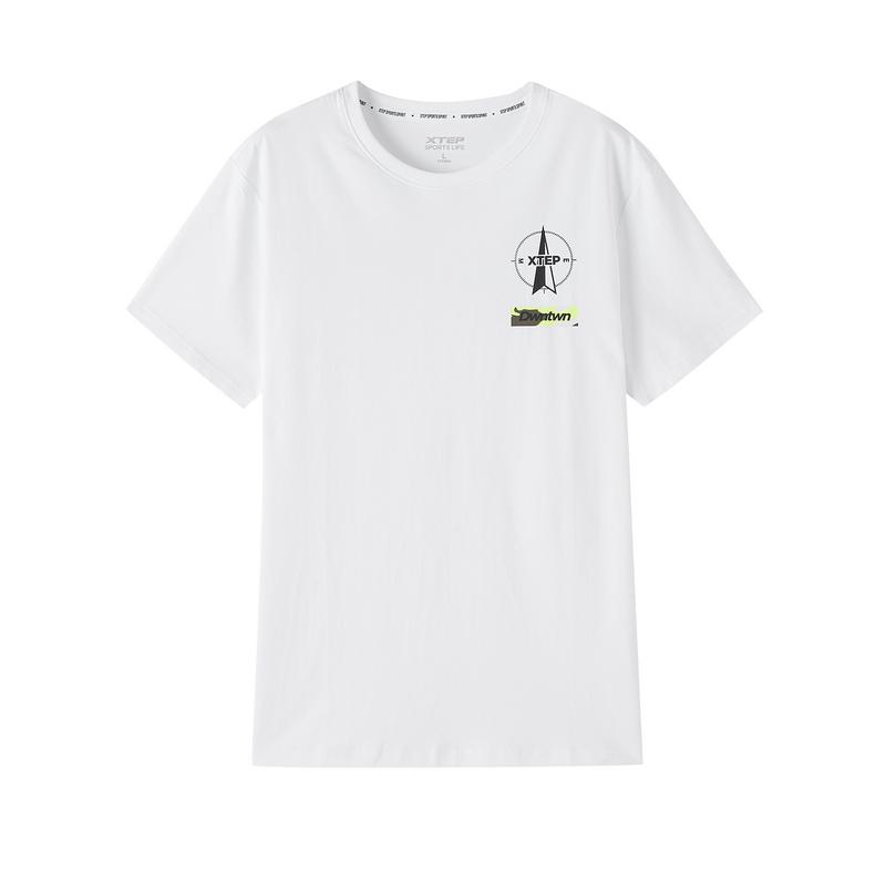 特步 专柜款 男子短T恤 20年新款 时尚运动圆领透气T恤 980329010255