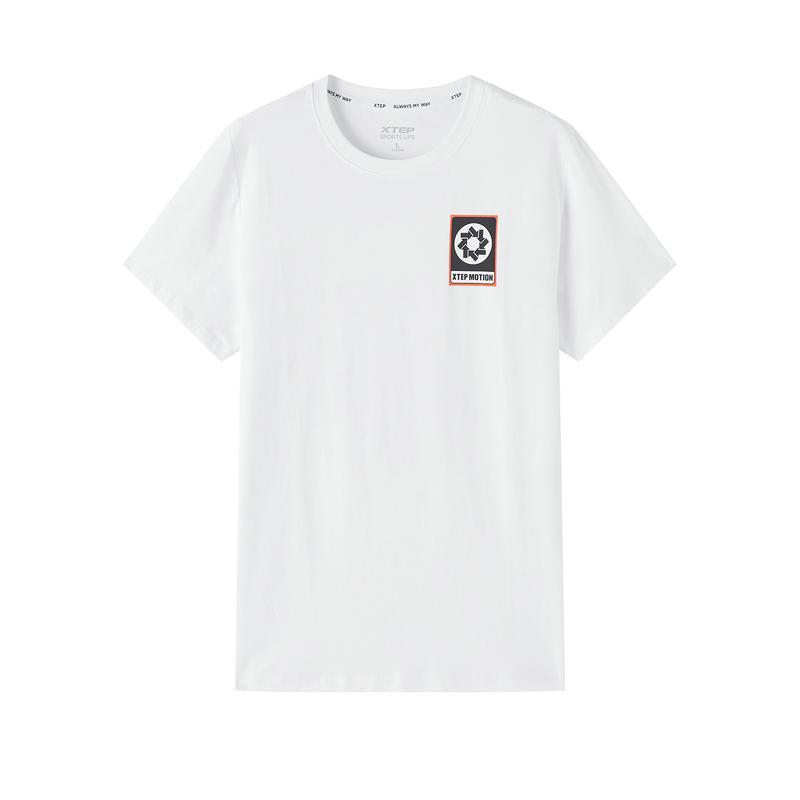 特步 专柜款 男子短T恤 20年新款 宽松舒适潮流百搭针织衫T恤衫980329010451