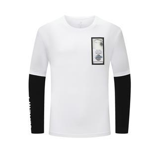 特步 男子针织衫 20年新款 假两件圆领长袖T恤880329030134