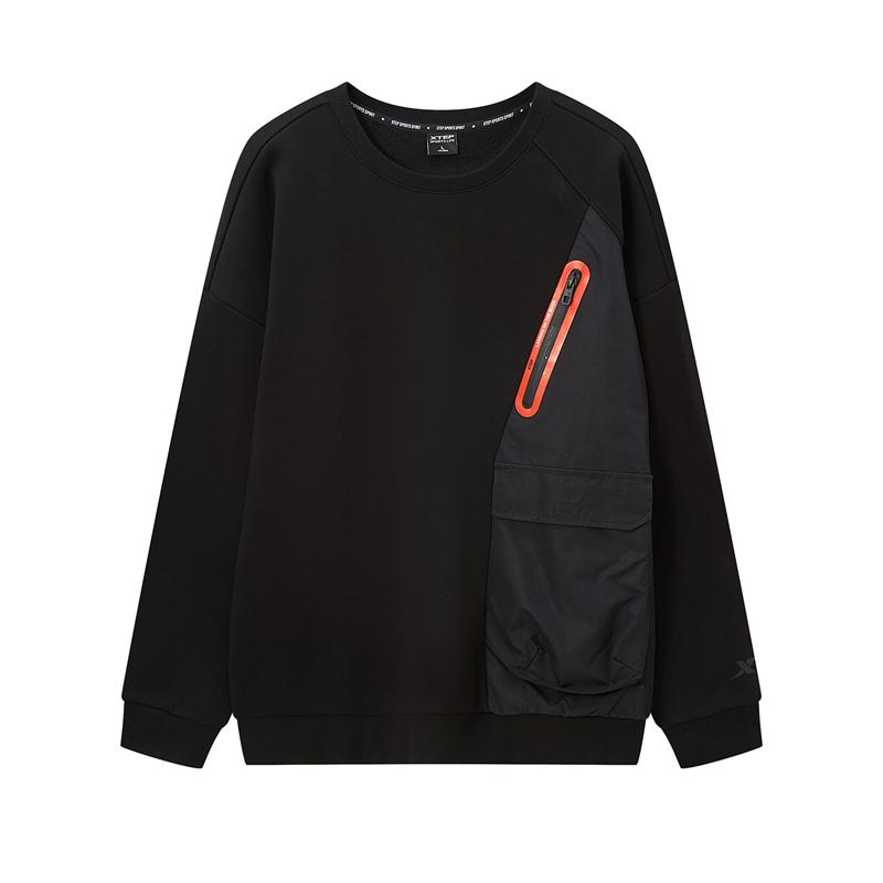特步 男子卫衣 20年秋新款 时尚百搭潮流套头加绒卫衣880429920071