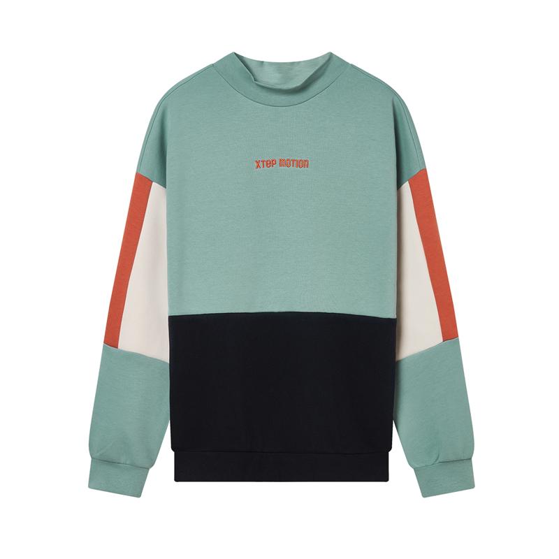 特步 专柜款 女子卫衣 时尚拼接撞色圆领卫衣980428920012
