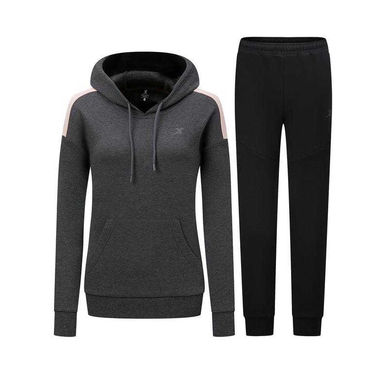 特步 女子针织套装 新款 拉链连帽外套长裤运动两件套880328960264
