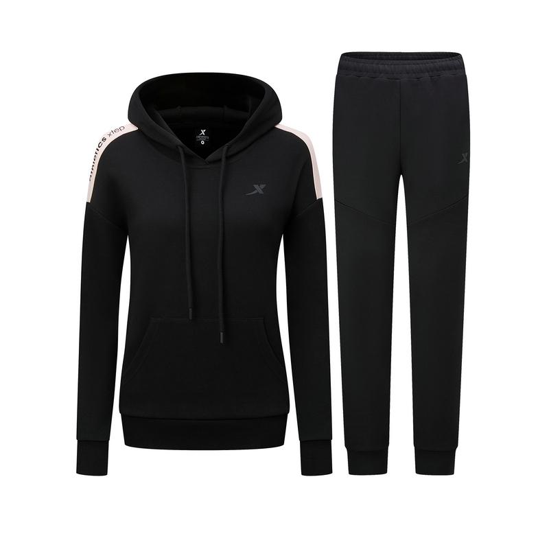特步 女子针织套装 20年秋冬新款 拉链连帽外套长裤运动两件套880328960264