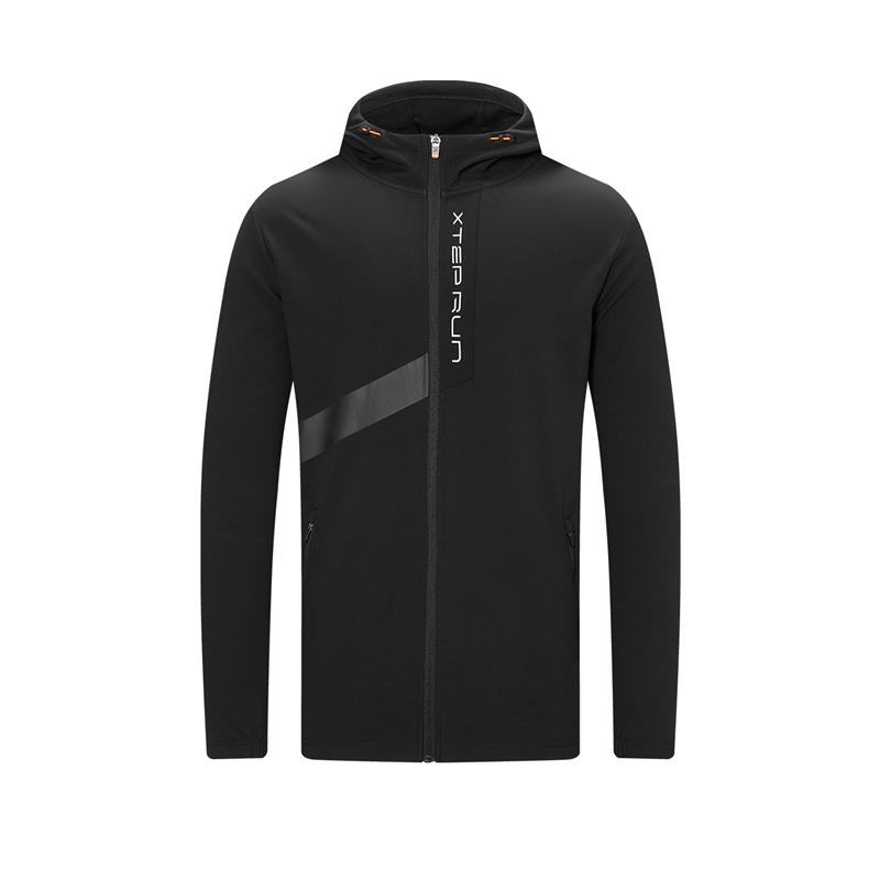 特步 专柜款 男子风衣 20年新款 跑步健身连帽拉链保暖风衣980429160126