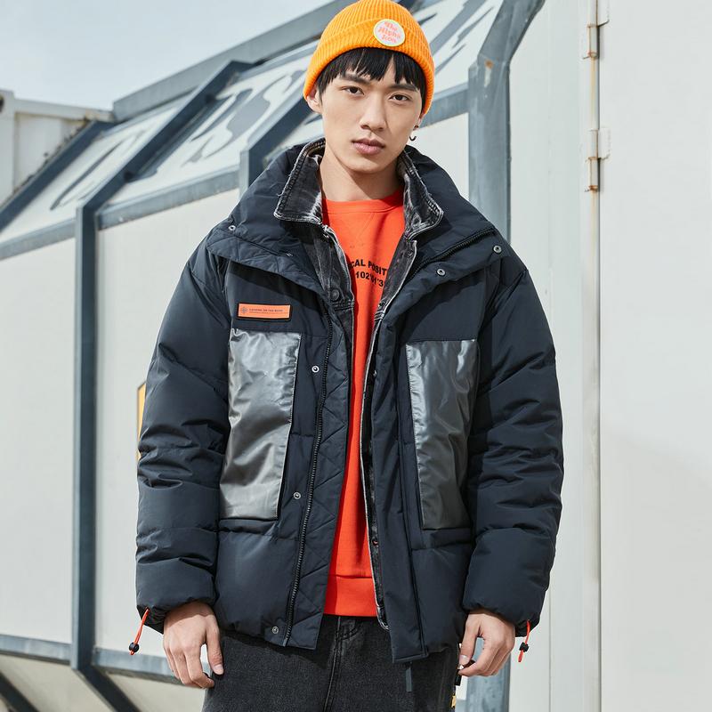 特步 男子羽绒服 20年冬季新款 男子都市潮流高领棉衣880429190076