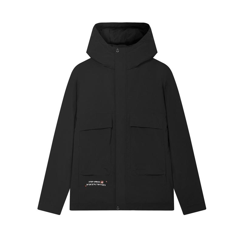 特步 专柜款 男子羽绒服 20年冬季新款 时尚保暖连帽棉服980429190187
