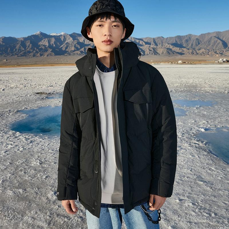 特步 男子羽绒服 20年秋冬新款 高领连帽保暖棉衣880429190024
