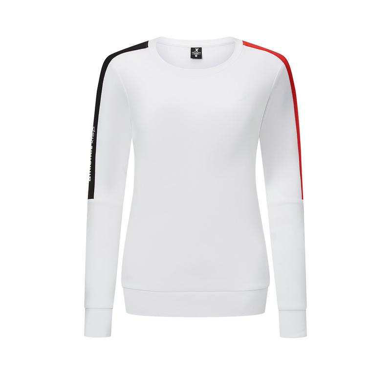 特步 女子卫衣 20年秋季新款女装衣服撞色长袖套头衫880328920263