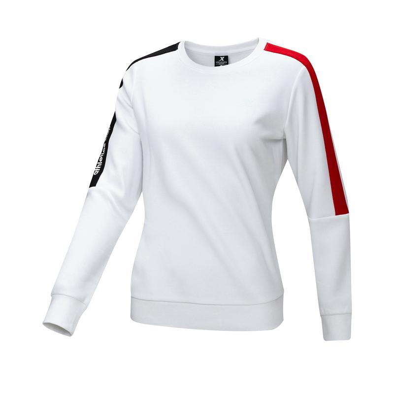 特步 女子卫衣 20年秋冬新款 加绒撞色长袖套头衫880428920145