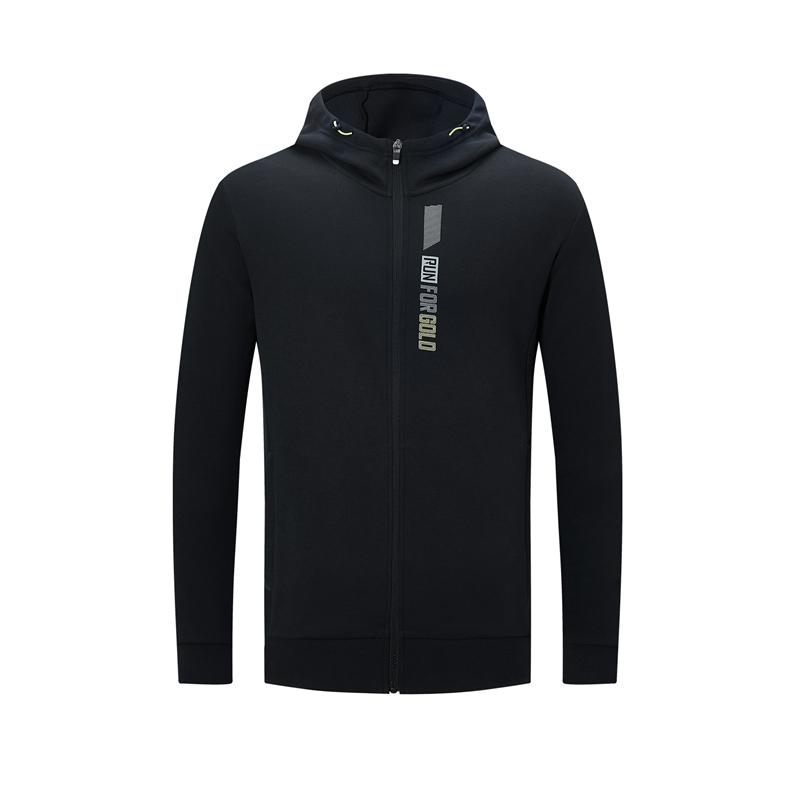 特步 专柜款 男子针织上衣 20年秋新款 跑步运动连帽拉链外套980329940396