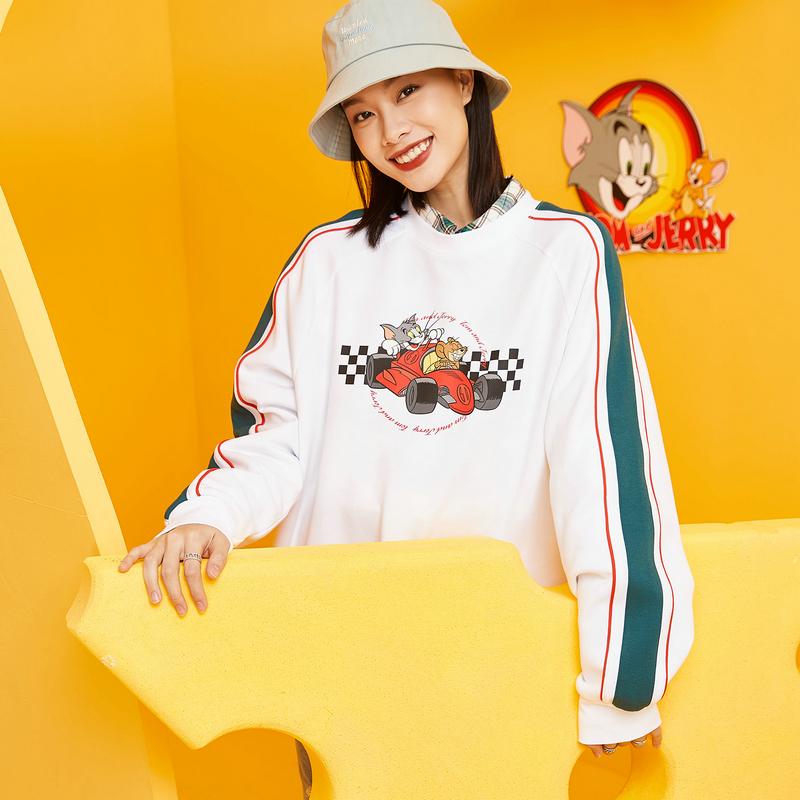 【猫和老鼠】特步 男女情侣同款卫衣 21年春季新款 时尚套头卫衣879127920028