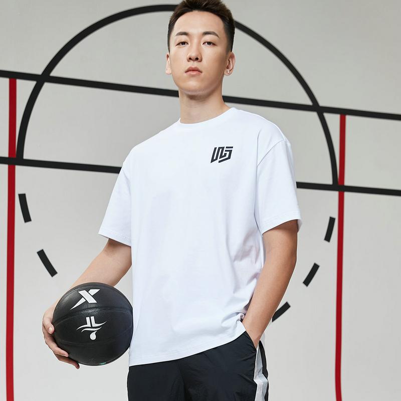 【篮球*吾界】特步 男子短袖针织衫 21年新款 运动百搭时尚T恤879129010132