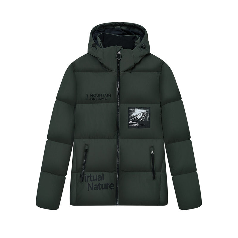 特步 专柜款 男子羽绒服 冬季新款 加厚保暖连帽运动休闲棉服980429190356