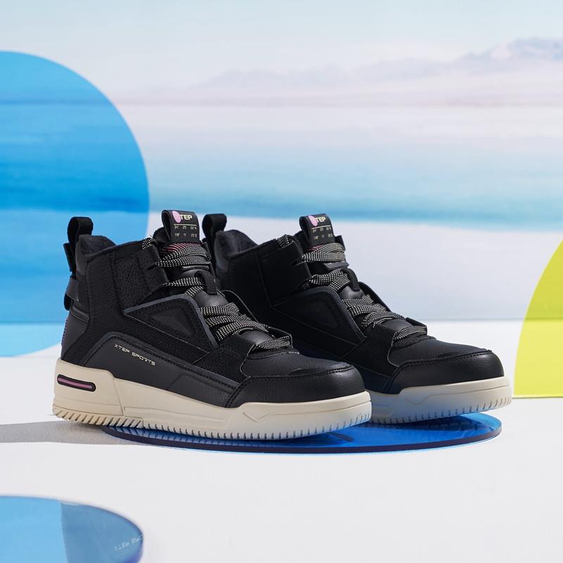【二次元】特步 女子棉鞋 新款 都市时尚运动保暖板鞋880418370020