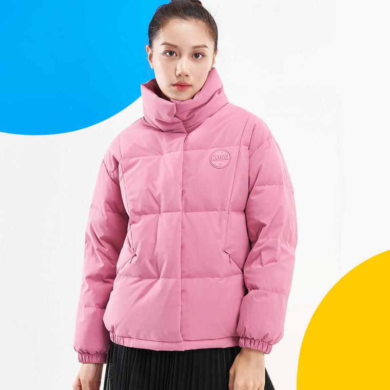特步 专柜款 女子羽绒服 新款 百搭时尚保暖棉衣980428190090
