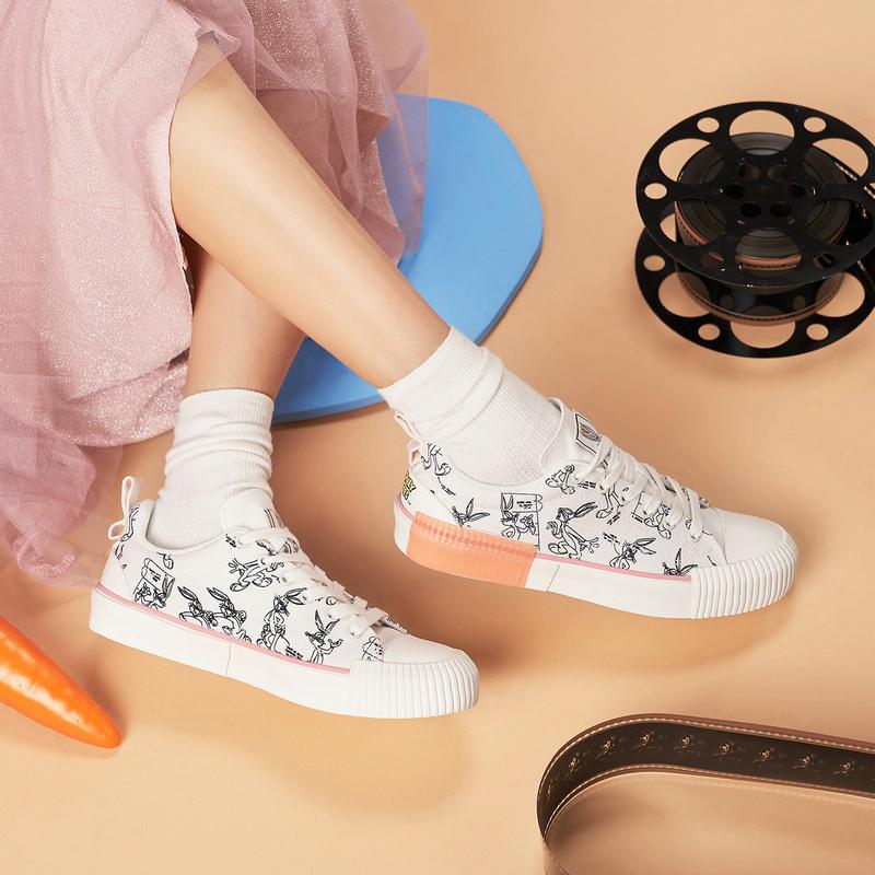 【兔八哥】特步 女子帆布鞋 21年新款 时尚百搭平底鞋879118100012