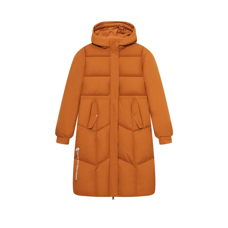 【林叁bo同款】特步 专柜款 新款 女子长款羽绒服 保暖防寒潮流机能风女子羽绒服980428190360