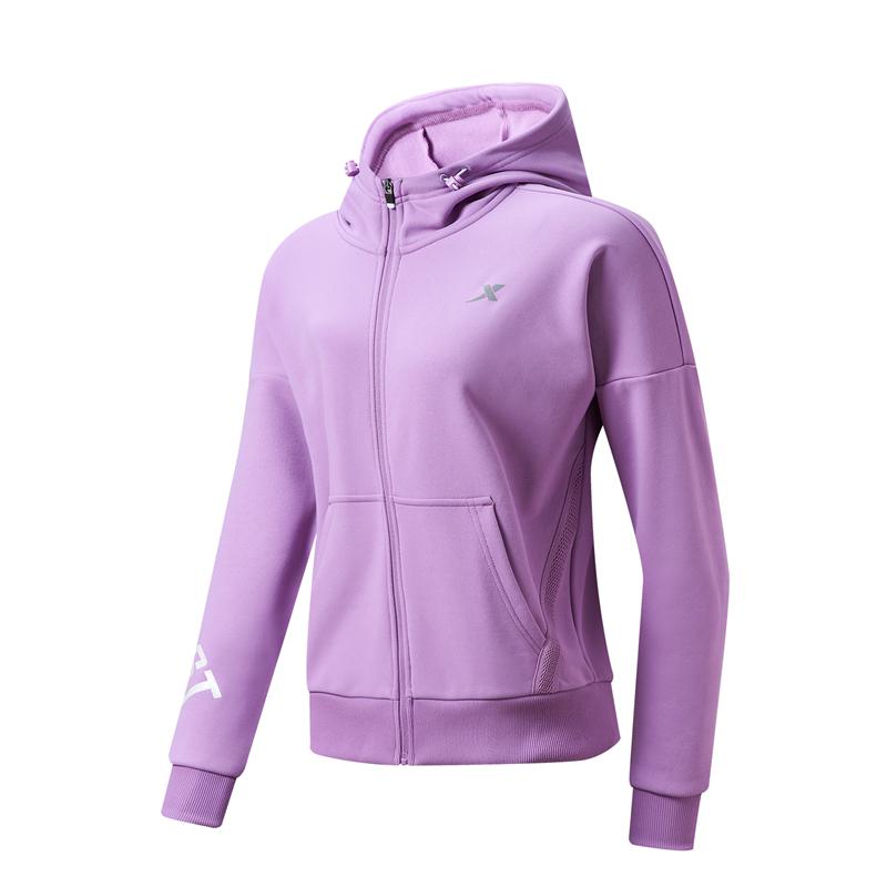 特步 专柜款 女子针织上衣 21年新款 运动跑步户外针织连帽外套979128940149