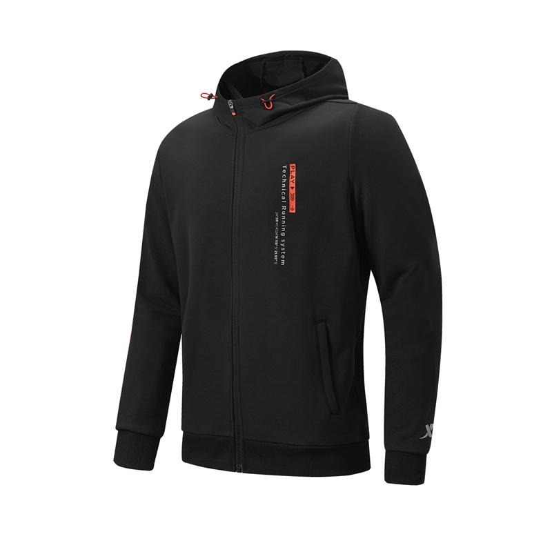特步 专柜款 男子针织连帽上衣 21年新款 跑步系列健身休闲上衣979129940173