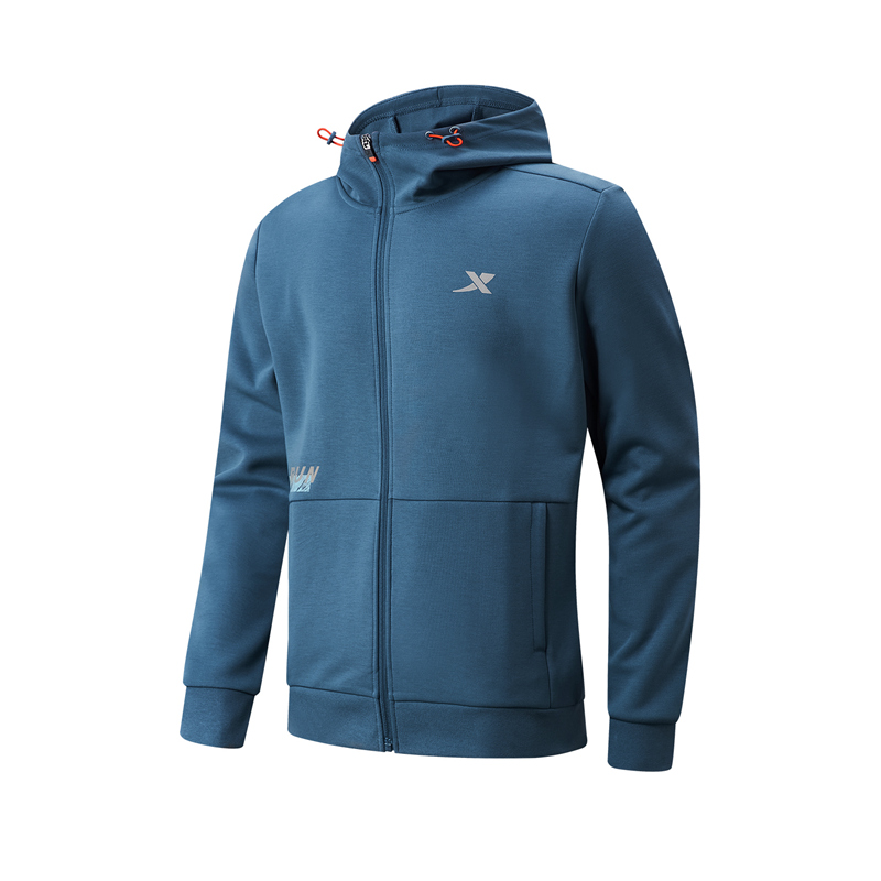 特步 专柜款 男子针织连帽上衣 21年新款 跑步休闲运动上衣979129940178