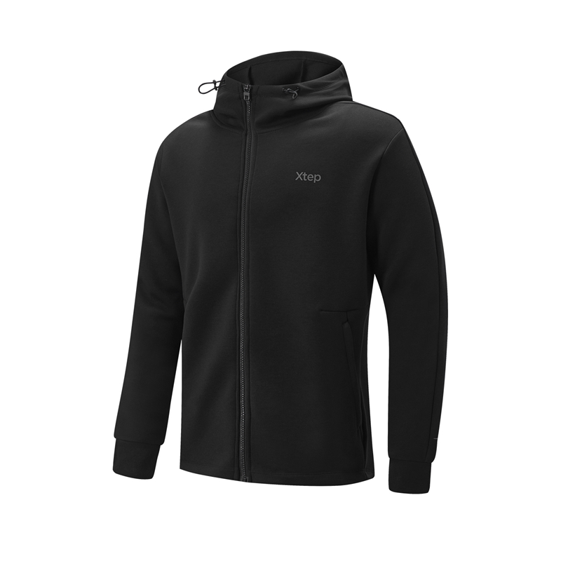 特步 专柜款 男子上衣 21年新款 休闲跑步运动针织连帽外套979129940308