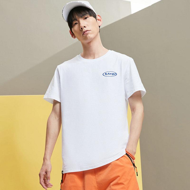 特步 男子短袖针织衫 21年新款 时尚简约运动休闲舒适透气短T879229010211