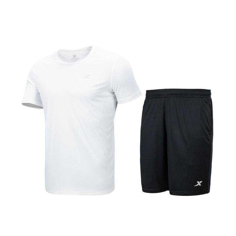 特步 男子针织两件套 综合训练健身跑步短袖短裤两件879229410252