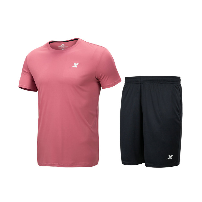 男子针织两件套 综合训练健身跑步短袖短裤两件879229410252