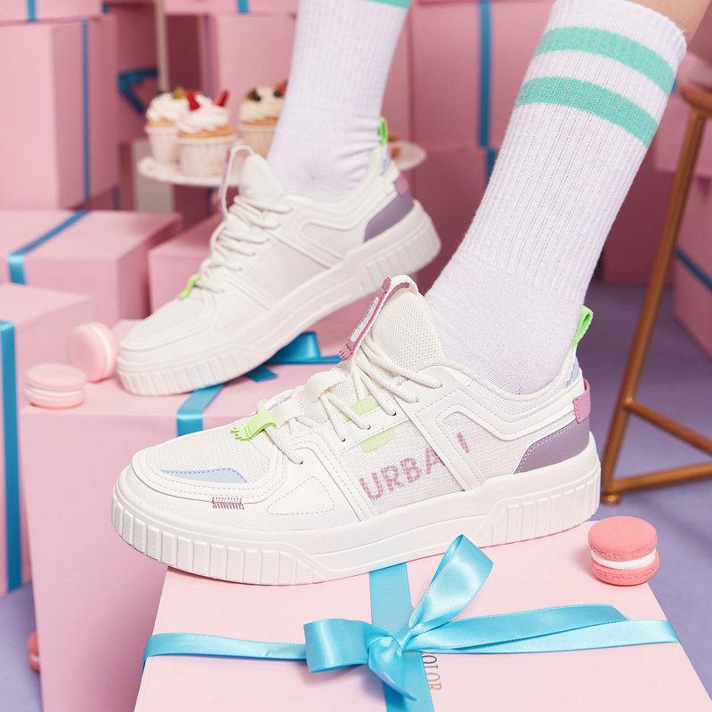 特步 女子板鞋 21年新款 简约拼接平底休闲板鞋879218310520
