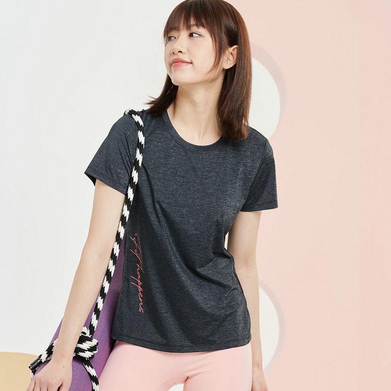 特步 女子短袖针织衫 21年新款 纯色简约休闲综训运动T恤879228010100