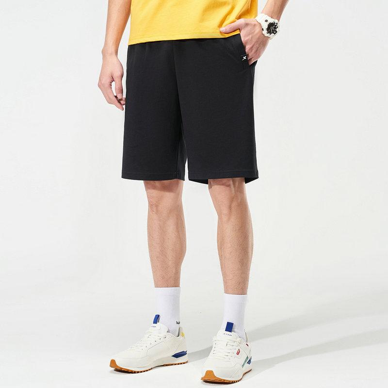 特步 男子针织中裤 21年新款 纯色简约运动跑步短裤879229610097