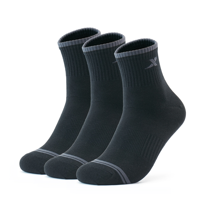 特步 男子平板长袜(3双装) 21年新款 舒适耐磨防滑袜子879139560090
