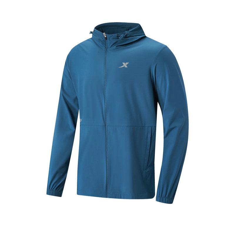 特步 专柜款 男子单风衣 21年新款 跑步运动连帽拉链上衣979229140242