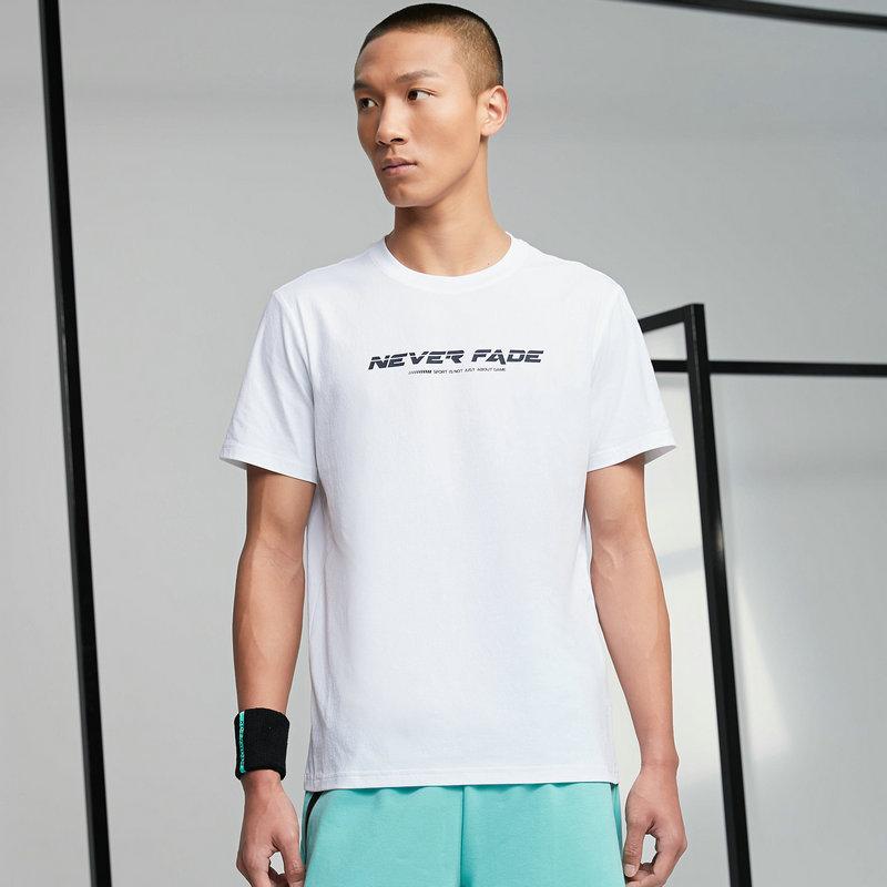 特步 男子短袖针织衫 21年新款 舒适运动跑步短袖879229010082