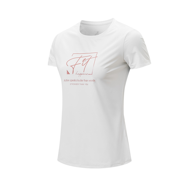 特步 专柜款 女子短袖针织衫 21年新款 综合训练运动短T979228010362