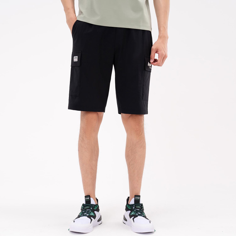特步 专柜款 男子针织中裤 21年新款 夏季新款都市潮流休闲短裤 979229610603
