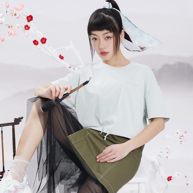 【天乘】特步 女子短袖针织衫 21年新款 透气轻薄时尚T恤879228010288