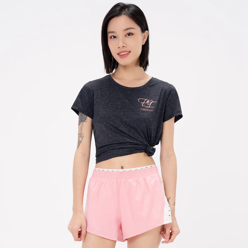 特步 专柜款 女子短袖针织衫 21年新款 休闲轻薄运动T恤979228010359