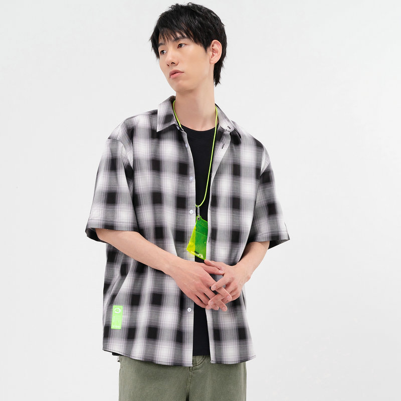 特步 专柜款 男子休闲衬衫 21年新款 夏季时尚休闲格子衬衫 979229250119