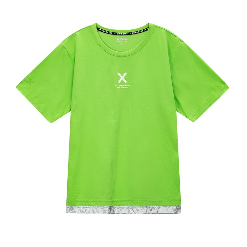 特步 专柜款 男子短袖针织衫  简约舒适休闲T恤980329010482