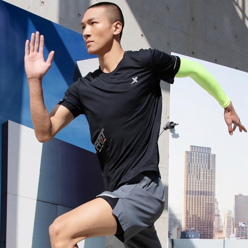 特步  男子短袖针织衫 21年夏季新款 跑步健身潮流运动T恤879229010274