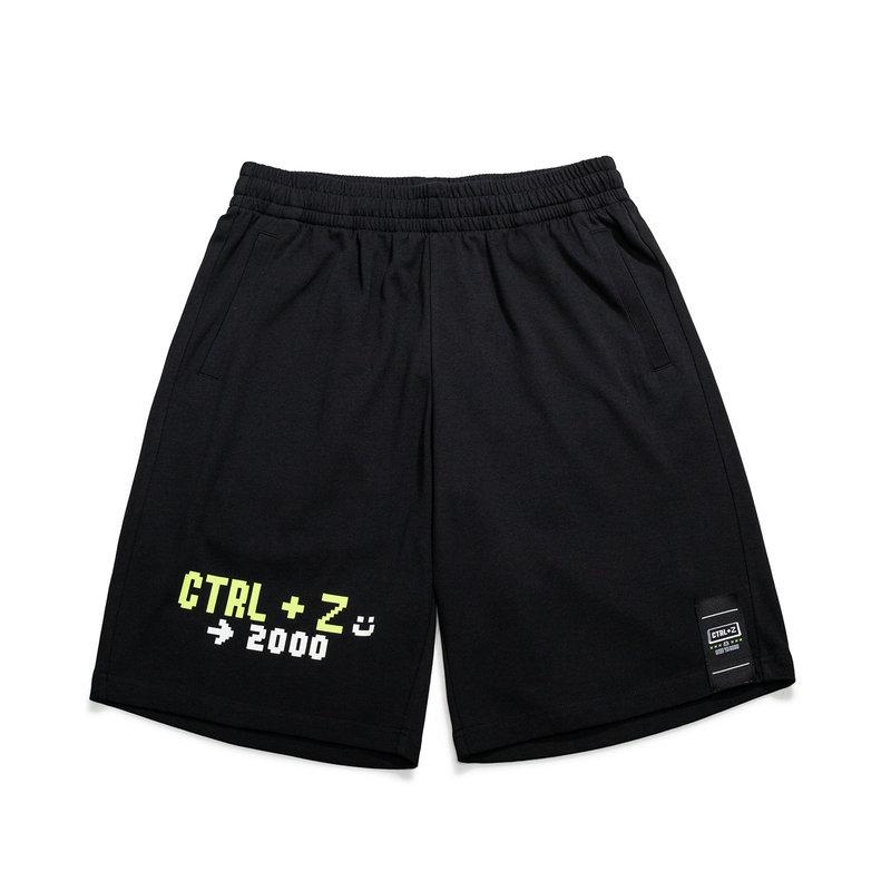 特步 男子针织五分裤 21年夏季新款 复古潮流运动男士宽松短裤879229610307