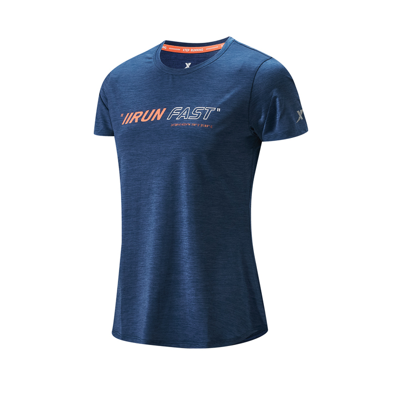 特步 专柜款 女子短袖针织衫 21年夏季新款 跑步训练简约运动T恤979228010218