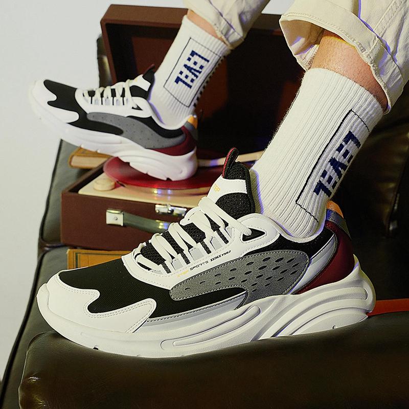 特步 男子休闲鞋 21年新款 百搭厚底舒适休闲男子板鞋休闲鞋879319320036
