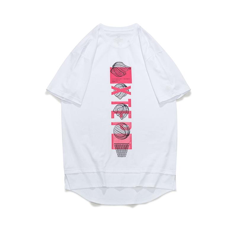 特步 男子短袖针织衫 21年新款 休闲时尚运动篮球男T恤879229010398