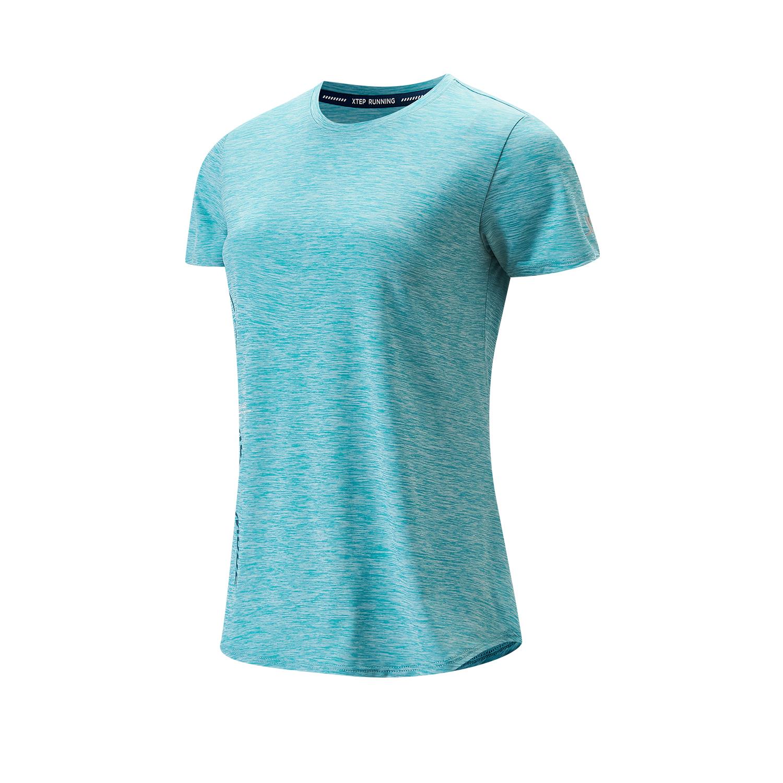 特步 专柜款 女子运动短袖 21年新款透气快干花色休闲T恤979328010219