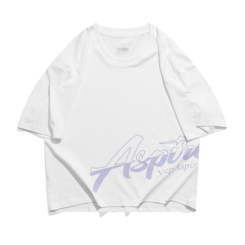 特步 专柜款 女子纯棉短袖 21年新款短款宽松休闲活力T恤979328010422