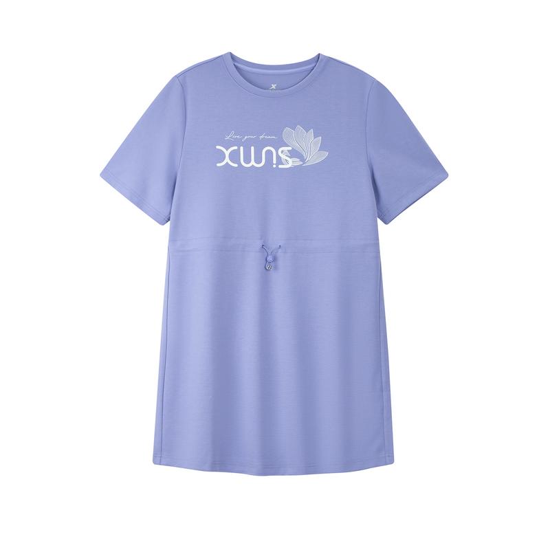 特步 女子短袖针织衫 21年新款 收腰抽绳透气舒适休闲女子T恤879228010364