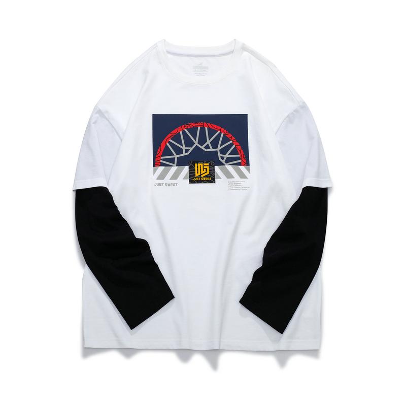 特步 男子长袖针织衫 21年新款秋季街头篮球运动休闲假两件上衣879329030098