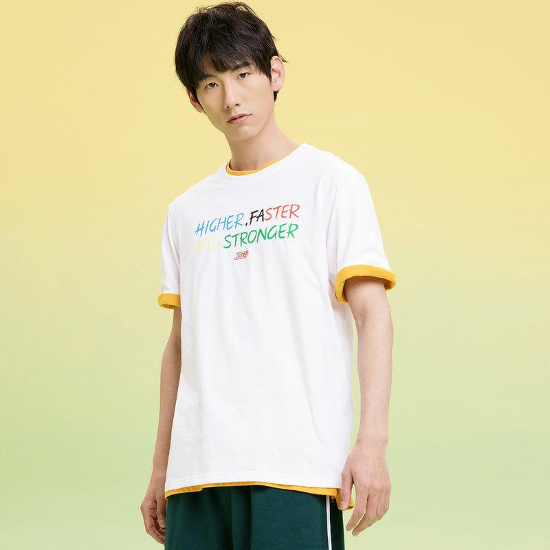 特步 男子短袖针织衫 21年新款字母活力休闲T恤879229010072